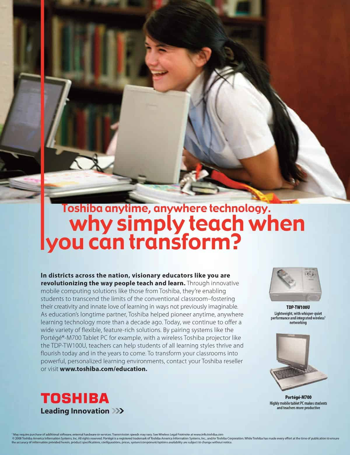 Toshiba 1-to-1 Learning Ad