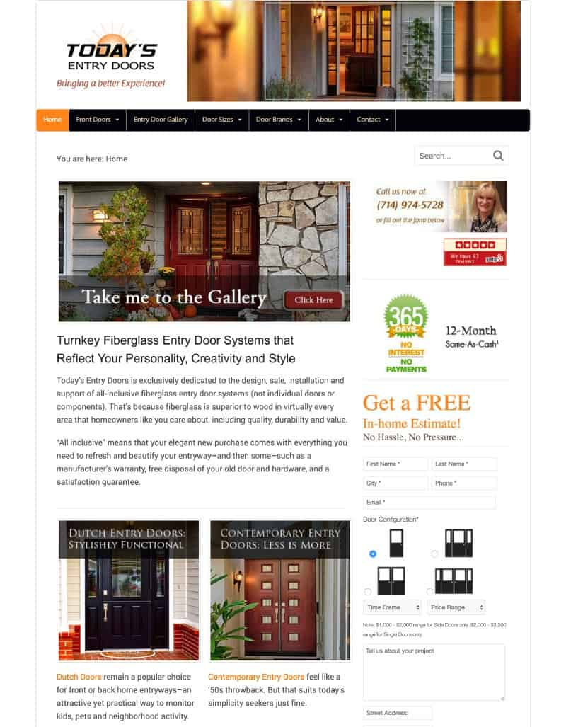 Today's Entry Doors Website